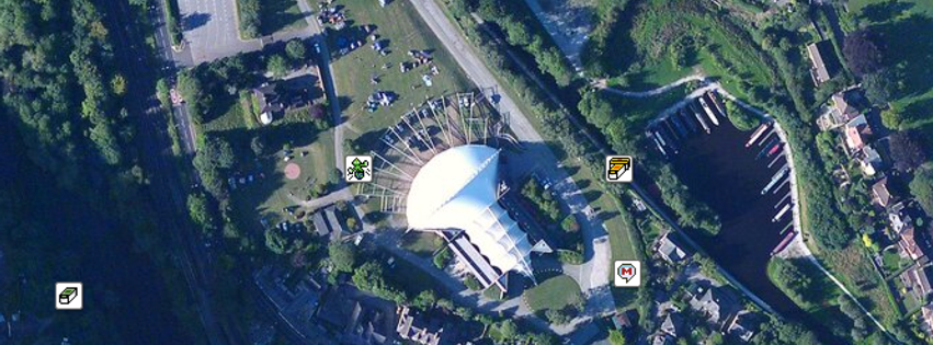 Pafiliwn Llangollen Pavilion from the air.